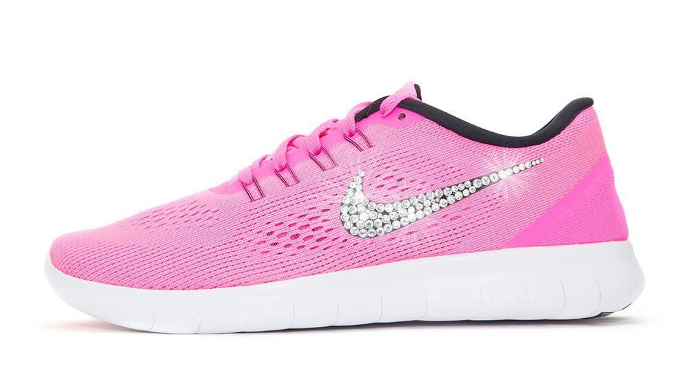 Women's Nike Free 5.0 RN - Customized with Swarovski Crystals Pink - Glitter Kicks - 1