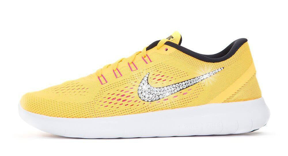 Women's Nike Free 5.0 RN - Customized with Swarovski Crystals Yellow/Orange - Glitter Kicks - 1