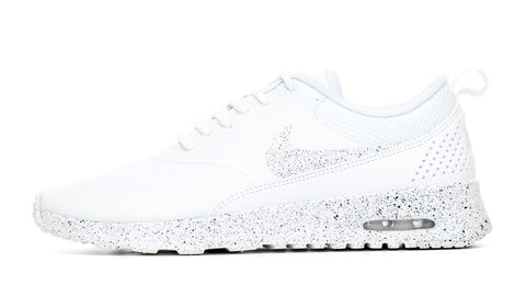 Nike Air Max Thea Running Shoes By Glitter Kicks - Triple White/Black Paint Speckle - Glitter Kicks
