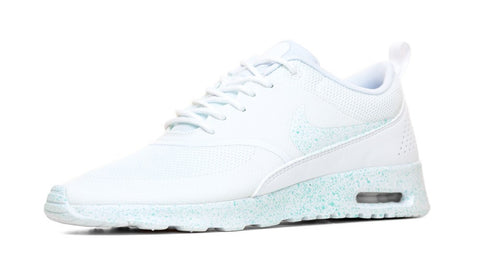 Nike Air Max Thea Running Shoes By Glitter Kicks - Triple White/Mint Paint Speckle