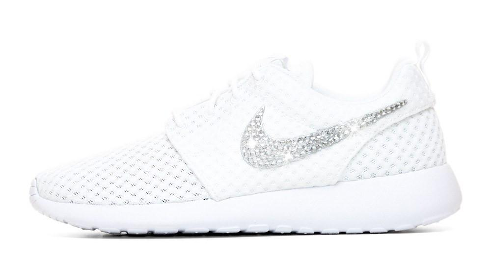 CLEARANCE - Nike Roshe One + Crystals - White size 4Y=W5.5 - Yellow Glue