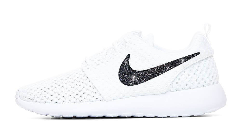Nike Roshe One + Hand Customized Black Glitter Swoosh - White/White