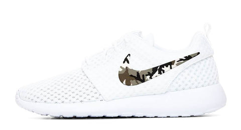 Nike Roshe One + Hand Customized Camo Print Swoosh - White/White
