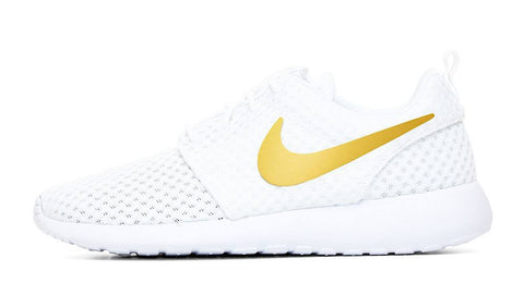 Nike Roshe One + Hand Customized Metallic Gold Swoosh - White/White