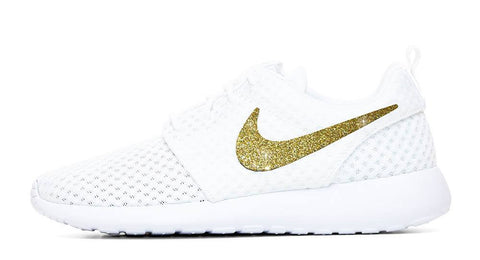 Nike Roshe One + Hand Customized Gold Glitter Swoosh - White/White