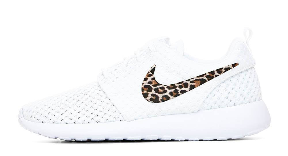 Nike Roshe One + Hand Customized Leopard Print Swoosh - White/White