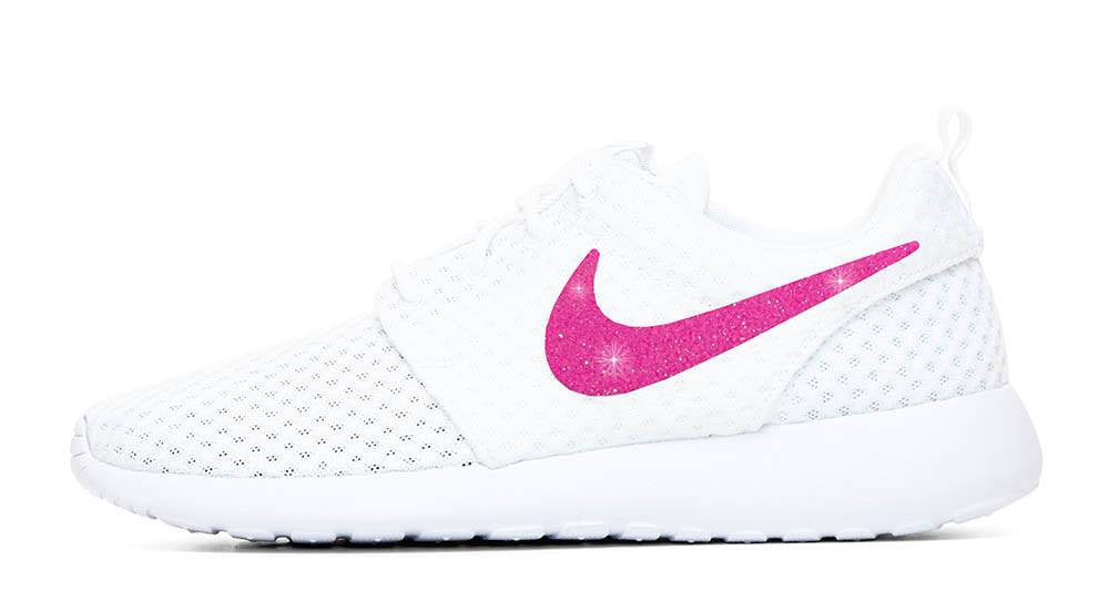 Nike Roshe One + Hand Customized Pink Glitter Swoosh - White/White