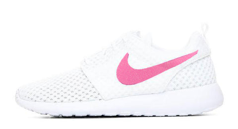 Women's Nike Roshe One + Vinyl Swoosh - White/White - 7 Options
