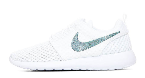 Nike Roshe One + Hand Customized Silver Glitter Swoosh - White/White