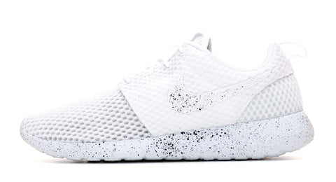Nike Roshe One Customized by Glitter Kicks - White / Black Paint Speckle - Glitter Kicks - 1