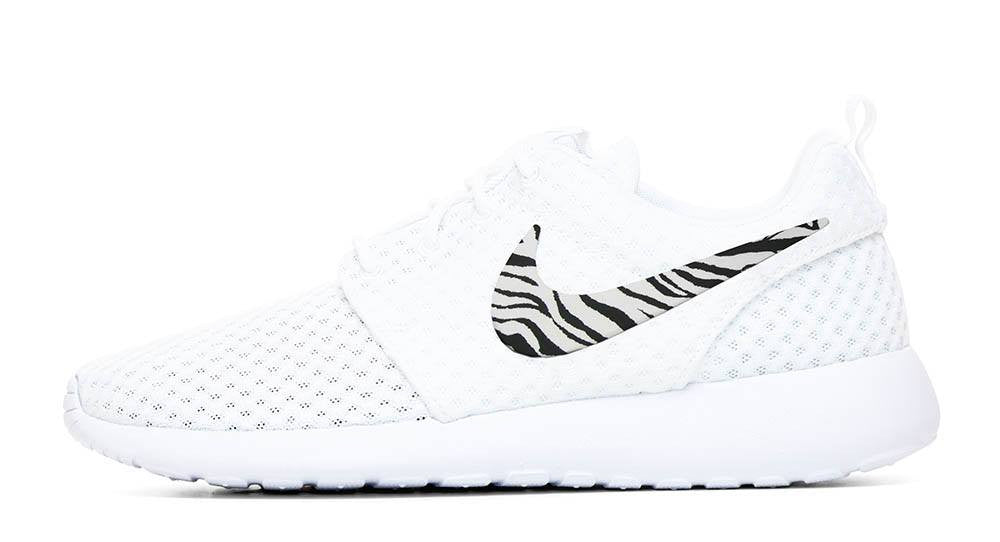 Nike Roshe One + Hand Customized Zebra Print Swoosh - White/White