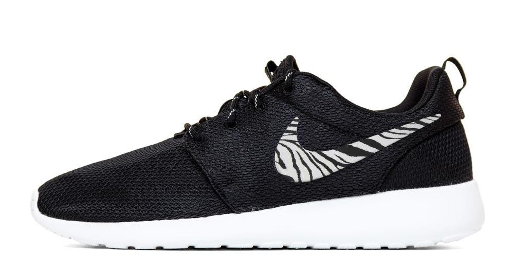 Nike Roshe One - Hand Customized Zebra Print Swoosh - Black/White