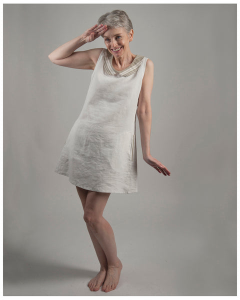 A-line dress - repurposed from vintage or antique French linen--size extra small (style 01)