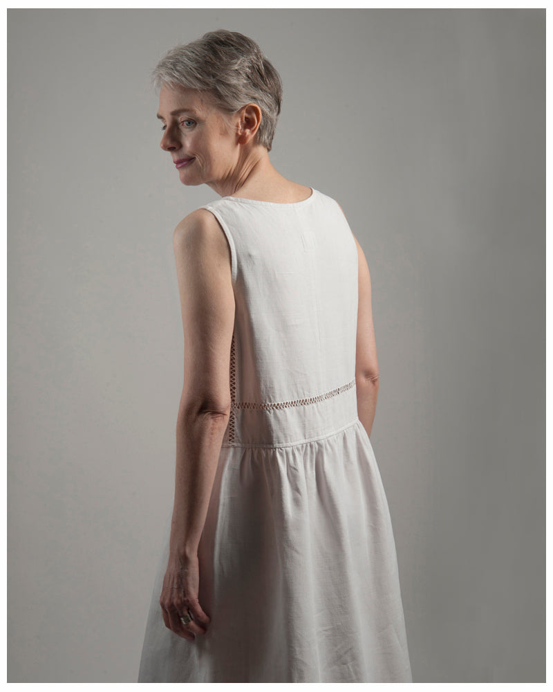 Laura Dress - Repurposed from vintage or antique French linen - size extra small (style 01)