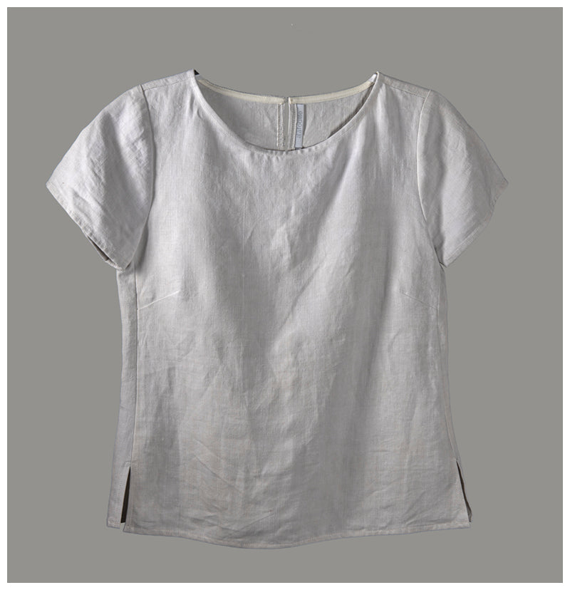 Alice Top - repurposed French linen (size extra small) style 02