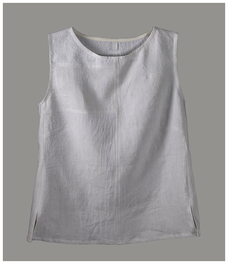 Alice top - repurposed French linen (size small) style 01