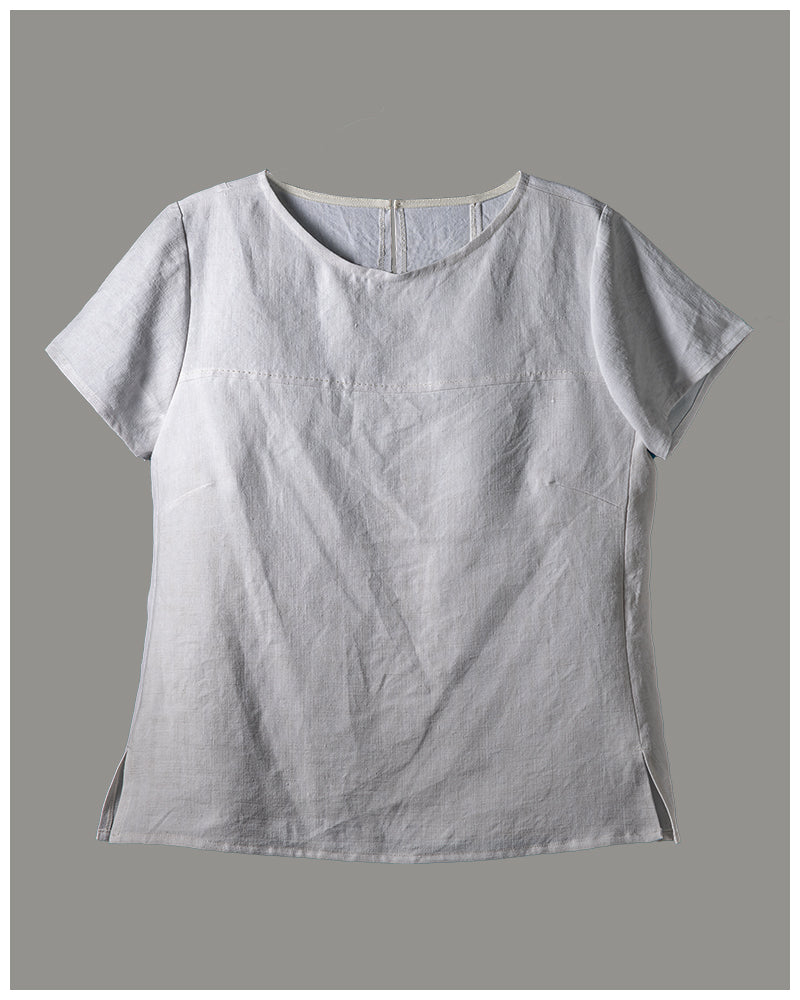 Alice Top - repurposed vintage or antique French linen (size large) style 02