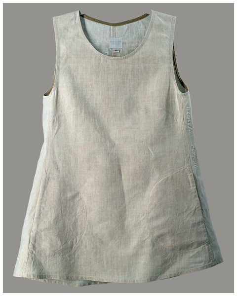 A-line Sleeveless Tunic  - Repurposed vintage or antique French linen (size extra small) style 01