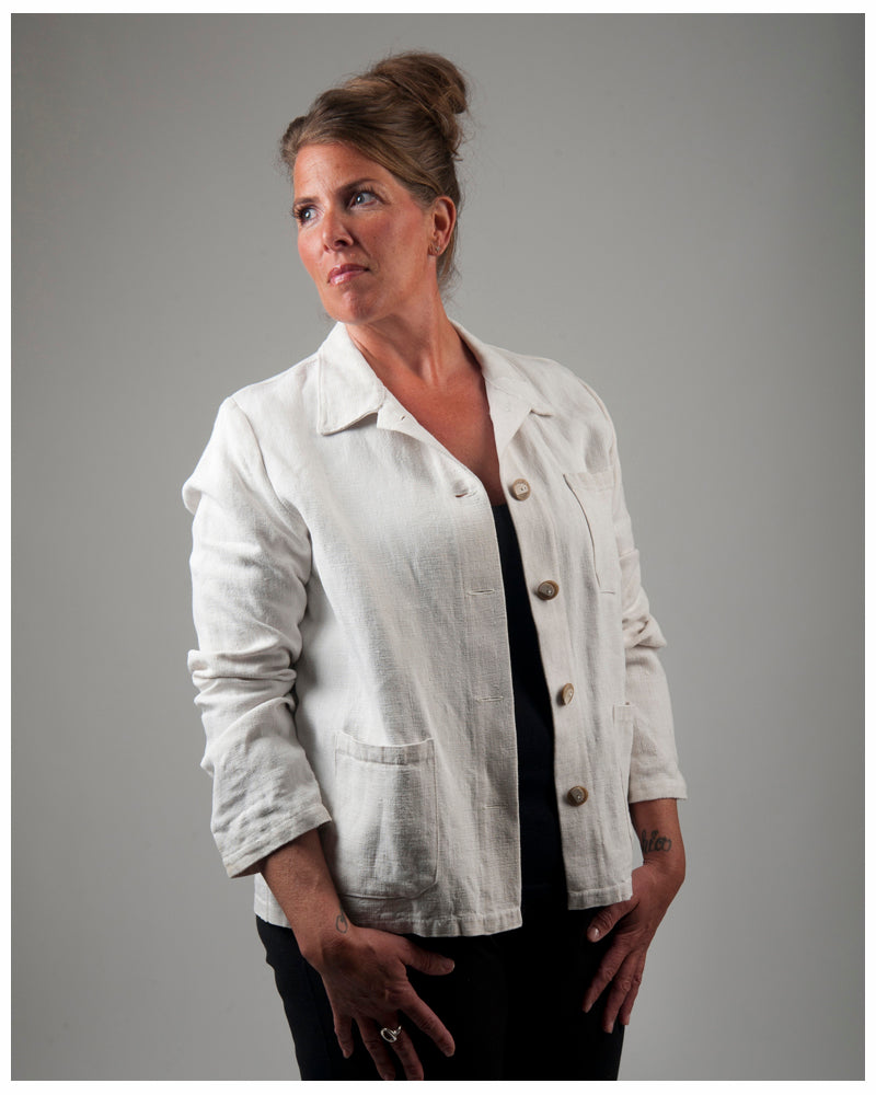Women's Chore Jacket - repurposed from vintage French hemp -- size medium (style 03)