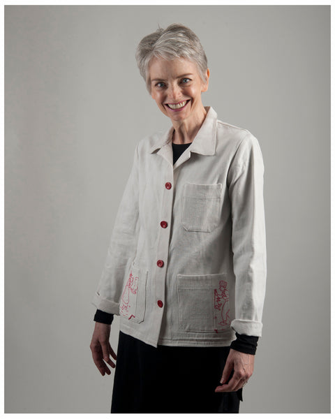 Women's chore jacket- Repurposed from vintage French hemp -- size extra extra small  (style 02)