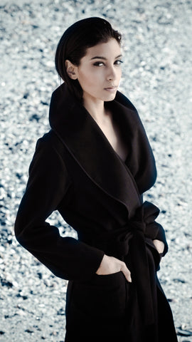 Black Robe Coat With Tie Belt