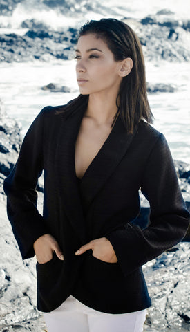 Black Lurex Blazer With Tie Belt