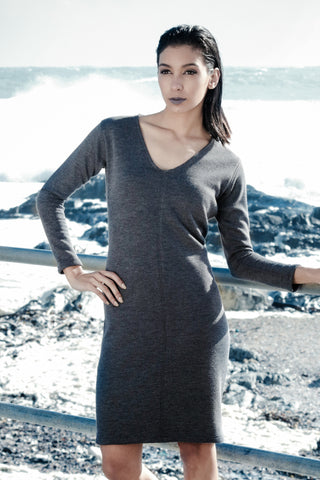 Grey Reversible Ribbed Knitted Dress