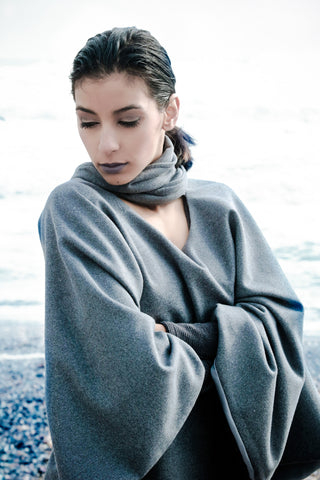 Grey Cape With Scarf