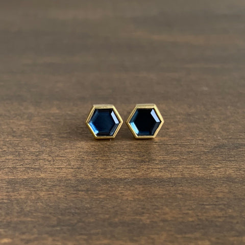 Lola Brooks Hexy Blue Spinel Sequin Studs