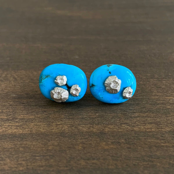 Hannah Blount Kingman Turquoise Studs with Barnacles