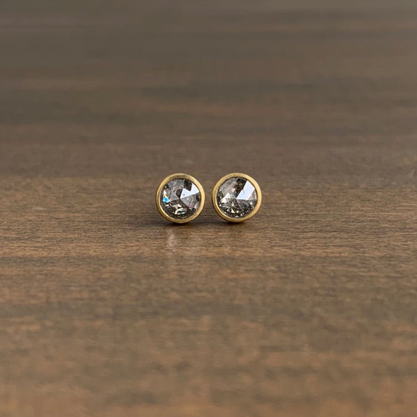 Lola Brooks Round Salt & Pepper Rose Cut Diamond Studs