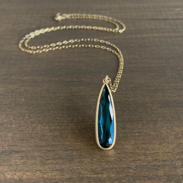 Lola Brooks Long Green/Blue Tourmaline Drop Pendant