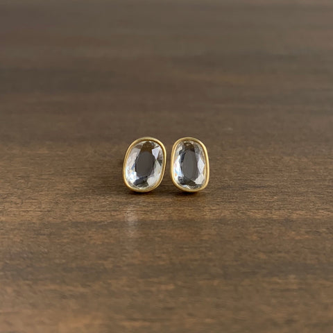 Lola Brooks Large White Sapphire Oblong Sequin Studs