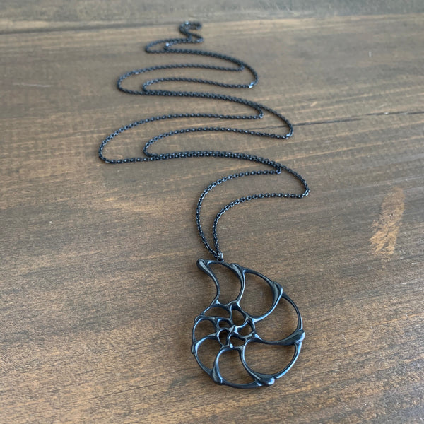Rachel Atherley Large Oxidized Silver Open Ammonite Pendant