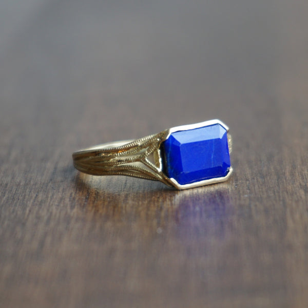 Aliyah Gold Lapis Deco Ring