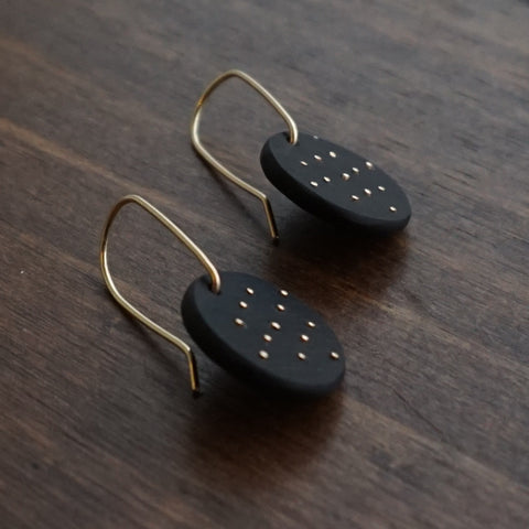 Aliyah Gold Round Polka-dot Earrings