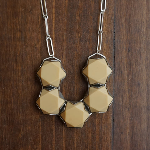 Aliyah Gold Hexagon Glass Necklace