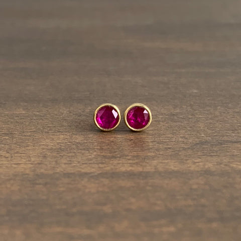 Lola Brooks Tiny Round Ruby Rose Cut Studs