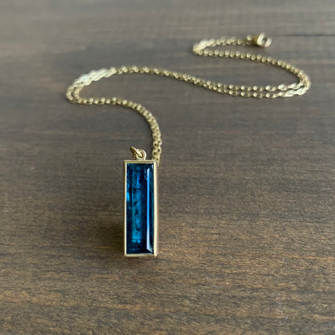 Lola Brooks Deep Blue Indicolite Rectangle Pendant