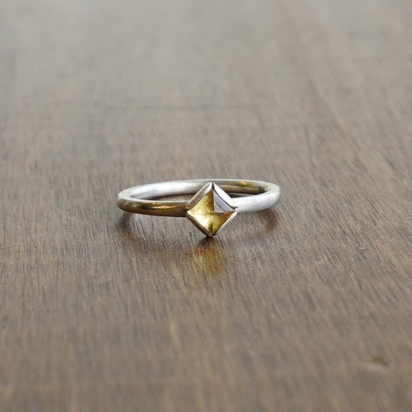 Aliyah Gold Citrine Pyramid Ring in Silver