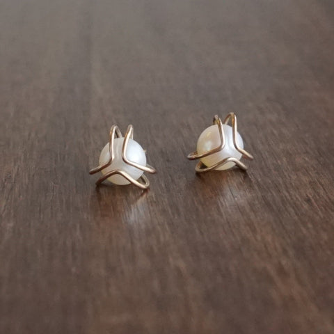 Katie Carder Gold Caged Pearl Studs