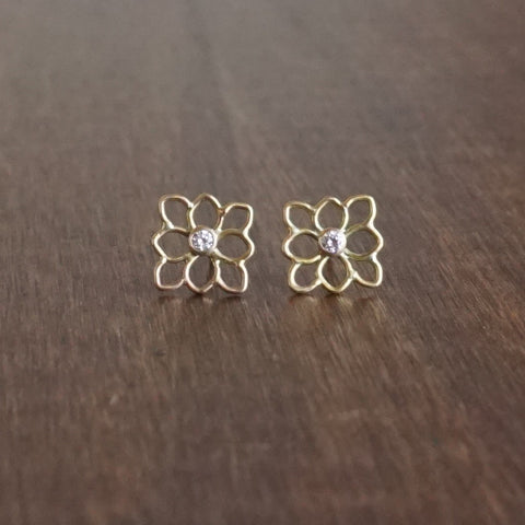 Katie Carder Square Filigree Diamond Studs