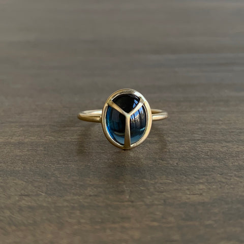 Rachel Atherley London Blue Topaz Lucky Scarab Ring