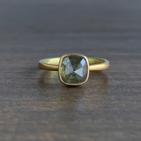 Lola Brooks Olive Cushion Rose Cut Diamond Ring