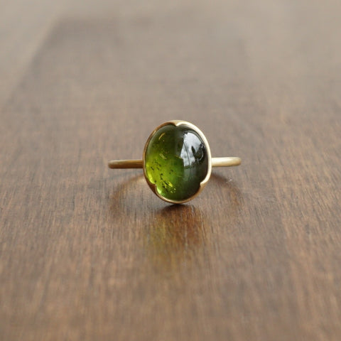 Gabriella Kiss Green Tourmaline Cabochon Ring