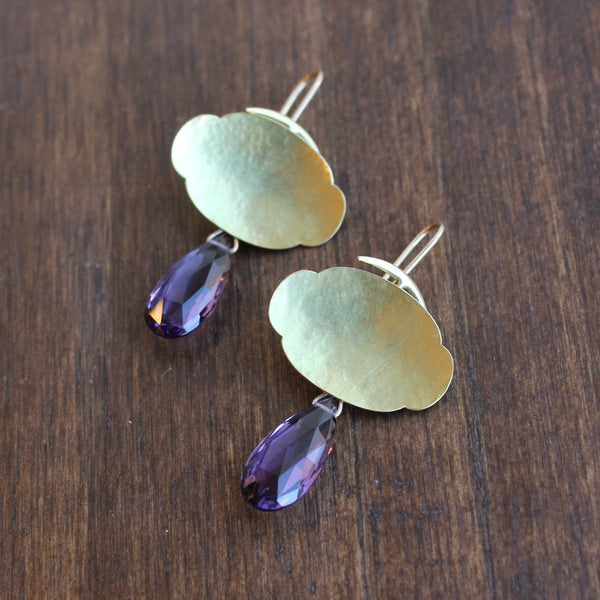Gabriella Kiss Scallop Earrings With Amethyst Drops