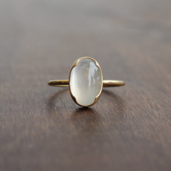 Gabriella Kiss Oval White Moonstone Ring