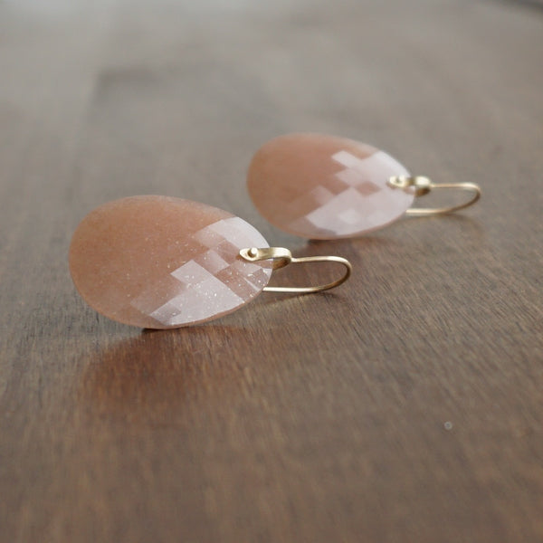 Hannah Blount Peach Moonstone Rivet Earrings
