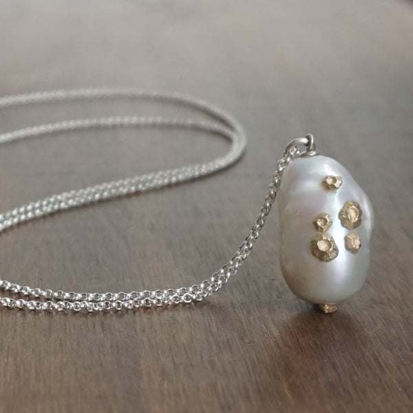 Hannah Blount Baroque Pearl Necklace with Gold Barnacles