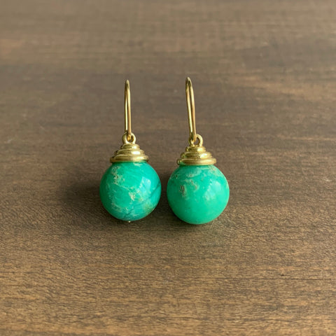 Mimi Favre Round Chrysoprase Ringed Top Earrings